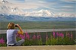 Young woman sits on the ground looking through binoculars viewing Mt McKinley and the Alaska Range Denali National Park Alaska Stock Photo - Premium Rights-Managed, Artist: AlaskaStock, Code: 854-03538132