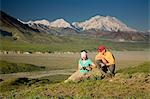 Young couple of visitors view MtMcKinley near the Eielson visitor center MtMcKinley Denali NP Alaska Stock Photo - Premium Rights-Managed, Artist: AlaskaStock, Code: 854-03538143