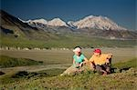 Young couple of visitors view MtMcKinley near the Eielson visitor center MtMcKinley Denali NP Alaska Stock Photo - Premium Rights-Managed, Artist: AlaskaStock, Code: 854-03538144