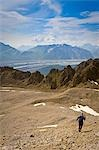 Man hiking on a rock glacier on the trail to the Jumbo Mine above Kennecott in Wrangell-St.Elias National Park, Alaska Stock Photo - Premium Rights-Managed, Artist: AlaskaStock, Code: 854-03538217
