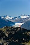 Man hiking in Alaska's Tongass National Forest with view of Mendenhall Glacier near Juneau Alaska southeast Autumn Stock Photo - Premium Rights-Managed, Artist: AlaskaStock, Code: 854-03538226
