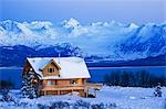 Sunset on a Log home that overlooks Kachemak Bay above Homer on the Kenai Peninsula in Southcentral, Alaska Stock Photo - Premium Rights-Managed, Artist: AlaskaStock, Code: 854-03538492