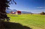 Original 1930s Colony Barn & farm w/Chugach Mountains Matanuska Valley Palmer Southcentral Alaska Summer Stock Photo - Premium Rights-Managed, Artist: AlaskaStock, Code: 854-03538530