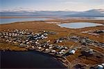 Aerial of the village of Kaktovik in Arctic National Wildlife Refuge Beaufort Sea Arctic Alaska Autumn Stock Photo - Premium Rights-Managed, Artist: AlaskaStock, Code: 854-03538616