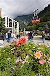Visitor traffic @ base of Mt Roberts tram w/flower garden Juneau Alaska Southeast Summer Stock Photo - Premium Rights-Managed, Artist: AlaskaStock, Code: 854-03538622