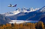 FedEx jet over Mendenhall Glacier Coast Mtns Southeast Alaska Composite Autumn Tongass Nat Forest Stock Photo - Premium Rights-Managed, Artist: AlaskaStock, Code: 854-03538701