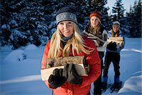 Three young women on snowshoes hauling chopped wood near Homer, Alaska during winter. Stock Photo - Premium Rights-Managednull, Code: 854-03539096