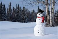 Snowman in snowy meadow w/birch & spruce forest in background Alaska Winter Stock Photo - Premium Rights-Managednull, Code: 854-03539285
