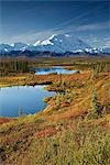 Scenic view of tundra ponds and Fall colors with Mt. Mckinley in the background, Denali National Park, Alaska Stock Photo - Premium Rights-Managed, Artist: AlaskaStock, Code: 854-03539453