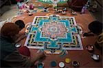 Artists making mandala on the floor of a monastery, Chemery Monastery, Ladakh, Jammu and Kashmir, India Stock Photo - Premium Rights-Managed, Artist: Photosindia, Code: 857-03553707