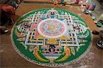 Artists making mandala on the floor of a monastery, Chemery Monastery, Ladakh, Jammu and Kashmir, India Stock Photo - Premium Rights-Managed, Artist: Photosindia, Code: 857-03553708