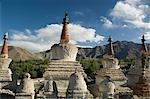 Chortens with a mountain range in the background, Ladakh, Jammu and Kashmir, India Stock Photo - Premium Rights-Managed, Artist: Photosindia, Code: 857-03553710