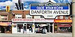 Stores on Danforth Avenue, Toronto, Ontario, Canada Stock Photo - Premium Rights-Managed, Artist: Andrew Kolb, Code: 700-03554375