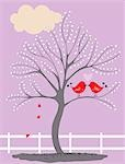 Illustration of Birds in a Tree Kissing Stock Photo - Premium Royalty-Free, Artist: Lisa Brdar, Code: 600-03554428
