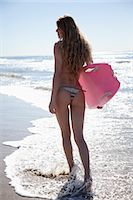 female rear end - Backview of Young Woman Walking on Beach holding Surfboard, Zuma Beach, California, USA Stock Photo - Premium Rights-Managednull, Code: 700-03556903