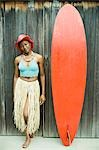 Portrait of a mid adult woman standing beside a surfboard and smiling Stock Photo - Premium Royalty-Free, Artist: Johann Wall, Code: 618-03572382
