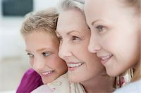 Close up of smiling grandmother, mother and daughter Stock Photo - Premium Royalty-Freenull, Code: 635-03578075
