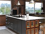 Interior of a Kitchen Loft Space Stock Photo - Premium Rights-Managed, Artist: Natasha Nicholson, Code: 700-03586825