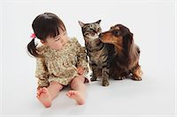 Japanese Cat-Miniature Dachshund And A Girl Stock Photo - Premium Rights-Managednull, Code: 859-03599524