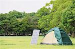 Solar Panel With Camp Stock Photo - Premium Rights-Managed, Artist: Aflo Relax, Code: 859-03600164