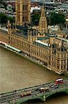 Aerial View of the House of Parliament and Westminster Bridge, London, England