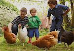 Children and Chickens in Garden