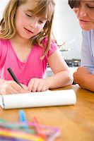 supervising - Mother and Daughter Doing Homework Stock Photo - Premium Rights-Managednull, Code: 822-03602096