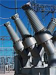 Transformers at an electrical substation Stock Photo - Premium Royalty-Free, Artist: David Mendelsohn, Code: 618-03608656