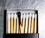 Box of wooden matches with one burned match. Stock Photo - Premium Royalty-Free, Artist: Science Faction, Code: 618-03609933