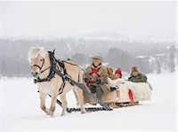 A horse pulling a sleigh full of people through the snow Stock Photo - Premium Royalty-Freenull, Code: 618-03612657
