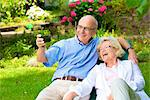 Happy senior couple with smartphone in garden Stock Photo - Premium Rights-Managed, Artist: F1Online, Code: 853-03616963