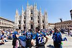 Soccer Fans Celebrating, Piazza del Duomo, Milan, Lombardy, Italy Stock Photo - Premium Rights-Managed, Artist: F. Lukasseck, Code: 700-03622789