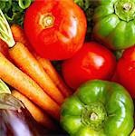 Fresh tomatoes, green peppers, carrots and aubergine Stock Photo - Premium Rights-Managed, Artist: Photocuisine, Code: 825-03626988