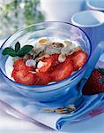 Strawberries with fromage blanc Stock Photo - Premium Rights-Managed, Artist: Photocuisine, Code: 825-03627214