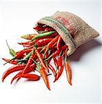 Red chili peppers in sack Stock Photo - Premium Rights-Managed, Artist: Photocuisine, Code: 825-03627290