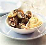 Whelks with mayonnaise sauce Stock Photo - Premium Rights-Managed, Artist: Photocuisine, Code: 825-03627322