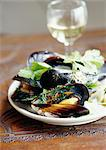Mussels with coriander Stock Photo - Premium Rights-Managed, Artist: Photocuisine, Code: 825-03628391