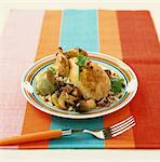 Chicken with rice ,artichokes and mushrooms Stock Photo - Premium Rights-Managed, Artist: Photocuisine, Code: 825-03628762