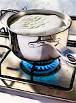 Cooking in a saucepan on a gas cooker Stock Photo - Premium Rights-Managed, Artist: Photocuisine, Code: 825-03628812