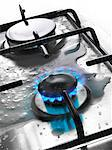 Gas cooker with spilt milk Stock Photo - Premium Rights-Managed, Artist: Photocuisine, Code: 825-03628813
