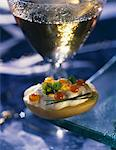 Potato canapé Stock Photo - Premium Rights-Managed, Artist: Photocuisine, Code: 825-03628908