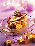 Capon with beetroot crisps and Dauphine potatoes Stock Photo - Premium Rights-Managed, Artist: Photocuisine, Code: 825-03629419
