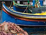 Fishing net and boat in harbor of Marsalforn, Gozo, Malta Stock Photo - Premium Royalty-Free, Artist: Robert Harding Images, Code: 618-03631437