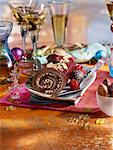 Chocolate,cherry,almond and nougatine rolled log cake Stock Photo - Premium Royalty-Free, Artist: Robert Harding Images, Code: 652-03634023