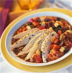 Sliced chicken breast with basil and lemon ,stewed vegetables Stock Photo - Premium Royalty-Freenull, Code: 652-03635093