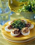 Hard boiled eggs stuffed with egg yolk and breadcrumb mixture Stock Photo - Premium Royalty-Free, Artist: Photocuisine, Code: 652-03635753