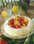 Coconut crown cake filled with fresh fruit Stock Photo - Premium Royalty-Freenull, Code: 652-03635765