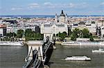 Chain Bridge and the River Danube, Budapest, Hungary Stock Photo - Premium Rights-Managed, Artist: Jeremy Woodhouse, Code: 700-03638990