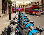 Row of Barclays Cycle Hire Bicycles near Haymarket Theatre, Westminster, London, England Stock Photo - Premium Rights-Managed, Artist: Jason Friend, Code: 700-03639260