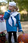 Girl Wearing Sailor Costume on Hallowe'en Stock Photo - Premium Rights-Managed, Artist: Michael Alberstat, Code: 700-03644347
